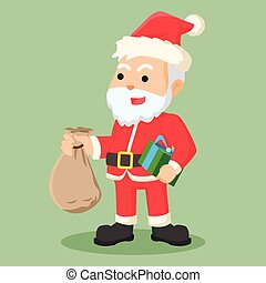 santa clause holding sack of gift