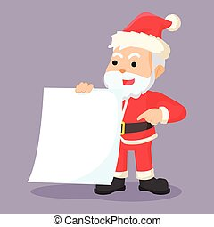 santa clause holding blank paper