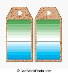 Tags design on both sides, cardboard sale labels. Abstract colorful business background, blue and green colors, modern stylish striped vector texture