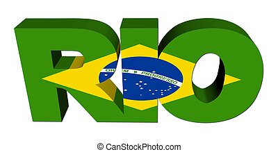 Rio text with Brazilian flag on white illustration