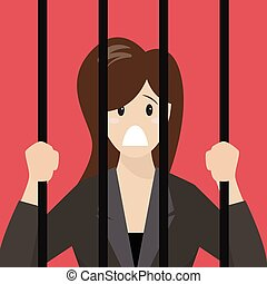 Business woman in prison Business concept