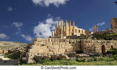 Jordanian city of Jerash, Jordan - Temple of Zeus, Jordanian...