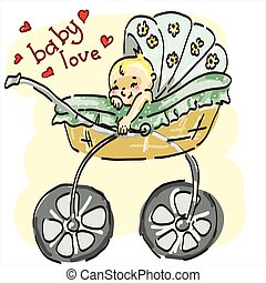 Vector illustration of a young child in  stroller.