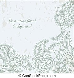 Decorative flower leaf henna background - Decorative flower...