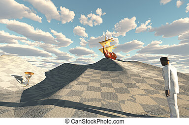 Ship crests on dune in checkerboard desert scene