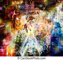 Mystical Abstract Painting, vivid colors
