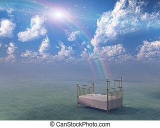 fantasia, letto, paesaggio