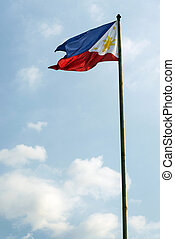 philippines filipino flag on flagpole in manila -...