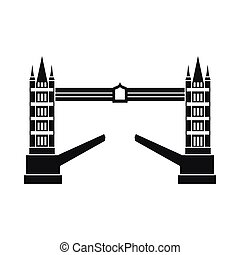Tower bridge icon, simple style - Tower bridge icon in...