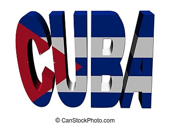 Cuba text with flag on white illustration
