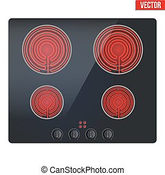 surface of electric hob - Surface of black electric hob with...
