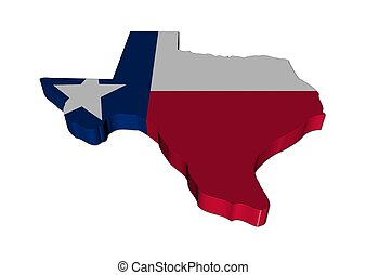 Texas map with Texan flag 3d render illustration