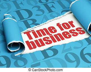 Time concept: red text Time for Business under the piece of...