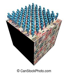 workforce on giant Chinese Yuan cube illustration