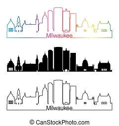 Milwaukee V2 skyline linear style with rainbow - Milwaukee...