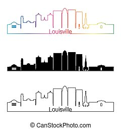 Louisville V2 skyline linear style with rainbow - Louisville...