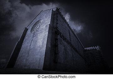 Gothic church at dusk