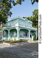 portuguese colonial mansions in taipa area of macao macau...