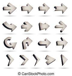 set of icons pointer arrows 3d