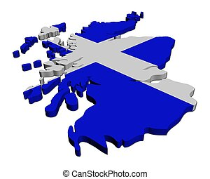 Scotland map flag 3d render on white illustration
