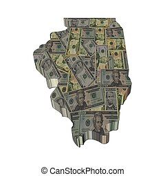 Illinois map 3d render with dollars illustration