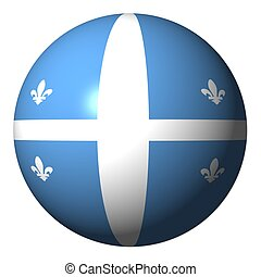 Quebec flag sphere isolated on white illustration