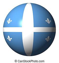 Quebec flag sphere isolated on white illustration