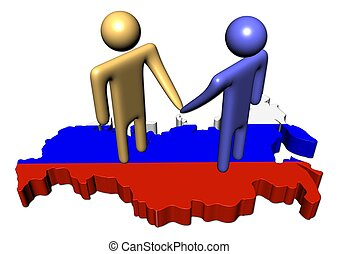 abstract people shaking hands on Russia Federation map flag...
