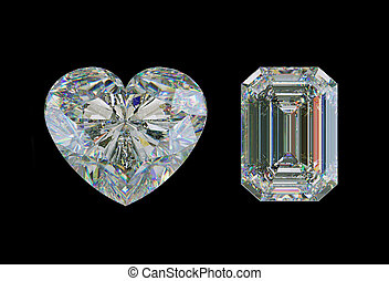 Emerald cut diamond and heart shape gemstone isolated on...