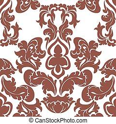 Floral damask pattern background - Vector floral damask...