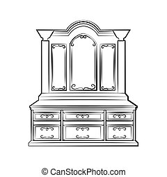 Dressing table with ornamented mirror