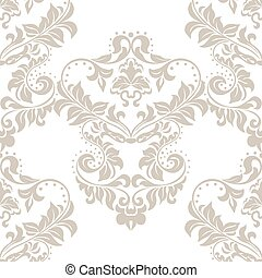 Vector floral damask ornament pattern Stylized lily flower...