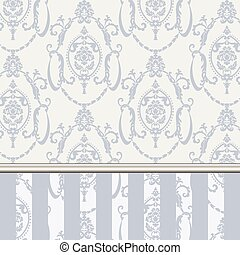 Vector damask pattern ornament. Molding Border and stripes....