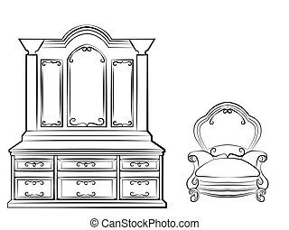 Dressing table with ornaments
