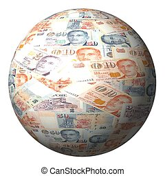 Singapore dollars sphere isolated on white illustration