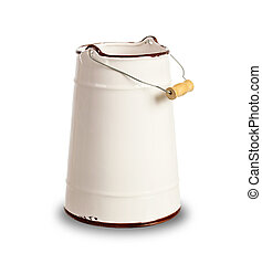 White Milk Can with Yellow Wooden Handle - Milk can with...