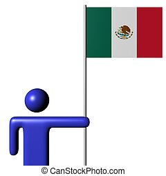 man holding Mexican flag illustration