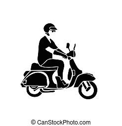 man rides vintage vespa vector silhouette