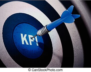 KPI target hitting by dart arrow, 3D illustration concept...