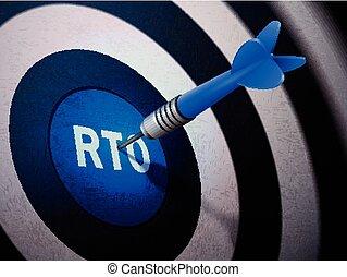 RTO target hitting by dart arrow, 3D illustration concept...