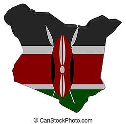 Kenya map flag 3d render on white illustration