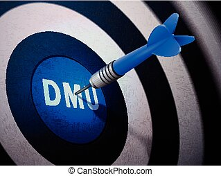 DMU target hitting by dart arrow, 3D illustration concept...