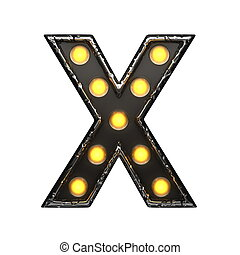 x metal letter with lights 3D illustration