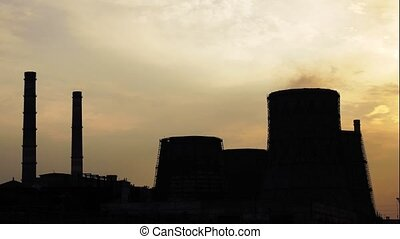 Power station in the evening - Time lapse of evening power...
