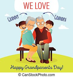 Grandparents Day vector concept. Illustration with happy...
