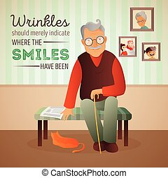 Vector illustration of an old man sitting in the room on the...