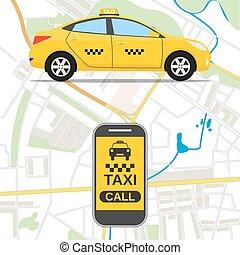 Taxi mobile app concept.