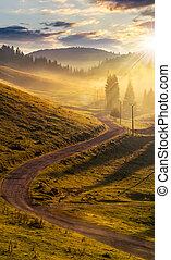curve road to mountain forest in fog at sunset