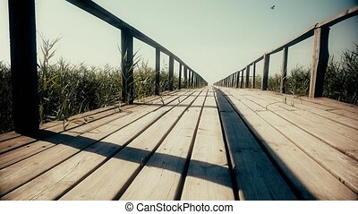 Wooden bridge to the river. Dolly. Close up
