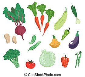 Vegetables Set of simple color illustrations on a white...